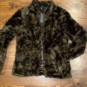 NWT Divided H&M dark brown faux fur coat